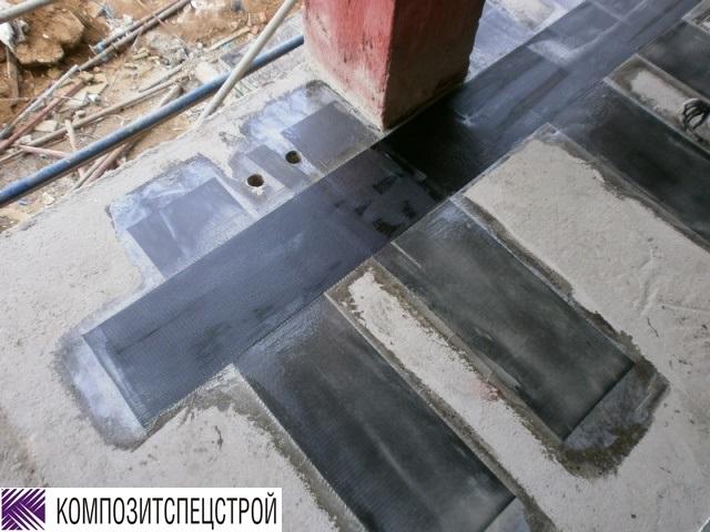 Усиление монолитных перекрытий в зонах отрицательных моментов Марьинорощинского еврейского общественного центра 6